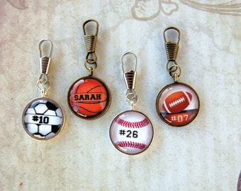 Sports Zipper Pull Purse Charm Duffel Bag Charm Boot Charm Key Ring Charm Personalized and Custom Accessory