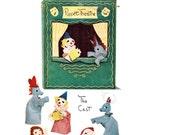 1950s Craft Pattern, McCall's 1659, Puppet Theatre & 5 Hand Puppets, Clown, Donkey, Ballerina, Santa, Deer, 1951 Vintage Sewing Pattern