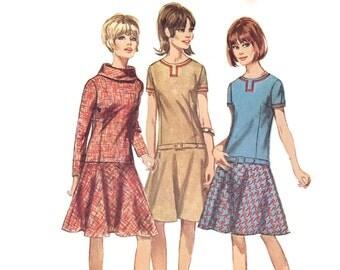 1960s Mod Dress Pattern Simplicity 6674, Drop Waist Dress, Large Roll Collar or Braid Trim, 1966 Vintage Sewing Pattern Bust 31 Uncut