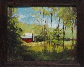 Pennsylvania Barn Landscape - Oil Painting by Jennifer Brandon