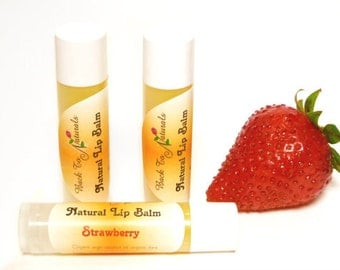 Strawberry Flavored Lip Balm - All Natural Lip Balm Chapstick with Jojoba, Shea Butter and Coconut Oil - Personalized Chapstick