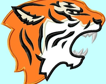 Tiger Head side Applique Embroidery Designs 4 sizes INSTANT DOWNLOAD
