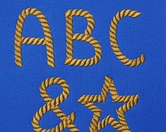 Rope Font Set in 3 sizes  Embroidery Designs   INSTANT DOWNLOAD  Includes BX files Plus Bonus Symbols