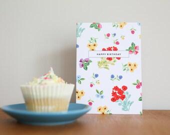Ditsy Design Happy Birthday Card