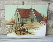 Vintage paint by number pbn old barn farm house red roof field wheat painting art