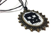 Skull cross stitched leather cord necklace ooak cameo necklace