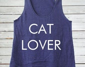 Cat Lover Womens Tri Blend Racer Back Tank available in XS, S, M, L, XL