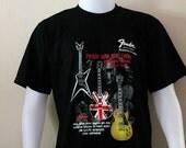 The Fender Guitar,Short Sleeve,Crew Neck,Black T shirt.