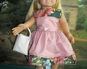 """American Girl 18"""" Doll Pink Dress and Accessories."""