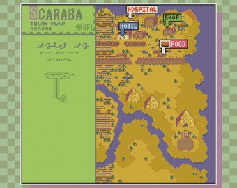 Earthbound/Mother 2 Scaraba Town Map Cross Stitch Pattern