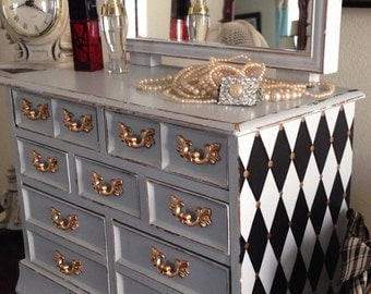 SOLD  Vintage Musical Jewelry Box Dresser Style Hand Painted French Grey With Harlequin Design