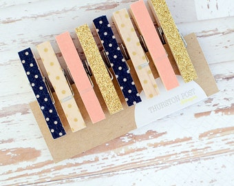 SALE! Washi Clothespins Set of 8 Mini Clothespins Peach Gold Navy