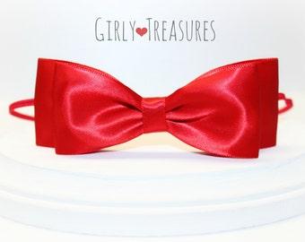 Red Bow Headband. Satin Bow Headband. Snow White Bow Headband. Baby Headband. Girl Headband. Disney Headband. Red Bow.  Snow White Headband.
