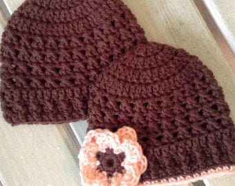 Crochet Hats for Twins, Crochet Hats for Twins, Brown and Peach, ready to ship, baby boy, baby girl, photo prop, shower gift, crochet hats