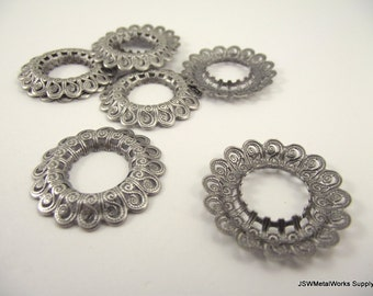 Antiqued Silver Plated Filigree Open Round, 29mm, 10 Pieces