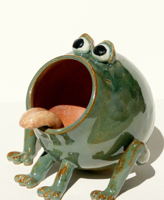 Rupert Green Frog Soap Holder Sponge Holder Hand Thrown