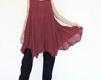 NO.8 Red Cotton Gauze Asymmetric  Tunic Top, Tank Top