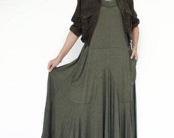 NO.129 Olive Rayon Spandex Softly Softly Maxi Dress, Day Dress