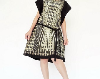 NO.150 Black and Cream Cotton Jersey Geometric Dip-Dye Printed Tunic, Drawstring Day Dress