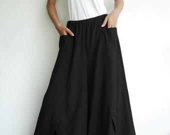 NO.41 Black Cotton Wide Leg Pants, Unique Pockets Capri Trousers, Women's Pants