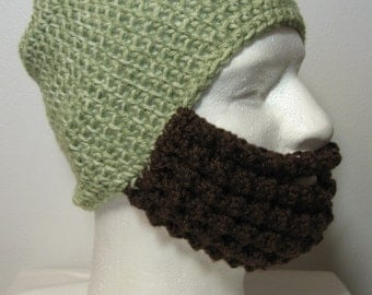 Crochet Bearded Skullcap - Beard Hat - Light Green Hat With Beard Face Warmer - Ready To Ship!