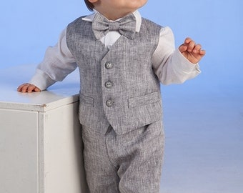 Ring bearer outfit Baby boy baptism suit Boy natural linen clothes First birthday formal wear Baby rustic wedding outfit Baby boy photo gray
