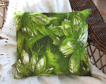 Stunning barkcloth pillow. Abstract, floral barkcloth pillow. Green floral, barkcloth pillow. Retro pillow.