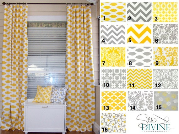 items similar to yellow and grey curtain panels two panels on etsy. Black Bedroom Furniture Sets. Home Design Ideas