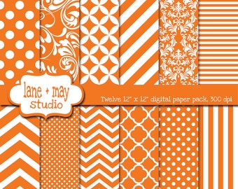 digital scrapbook papers - orange and white patterns - variety pack - INSTANT DOWNLOAD