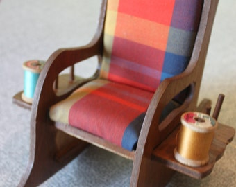 Colorful Vintage Wooden Rocking Chair Pin Cushion/Thread Holder - 1970 - Handmade