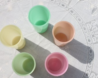 Vintage Set of (5)  Tupperware PASTEL Cups, TUMBLERS, Jadite, Green, Pink,Yellow, orange, small cups