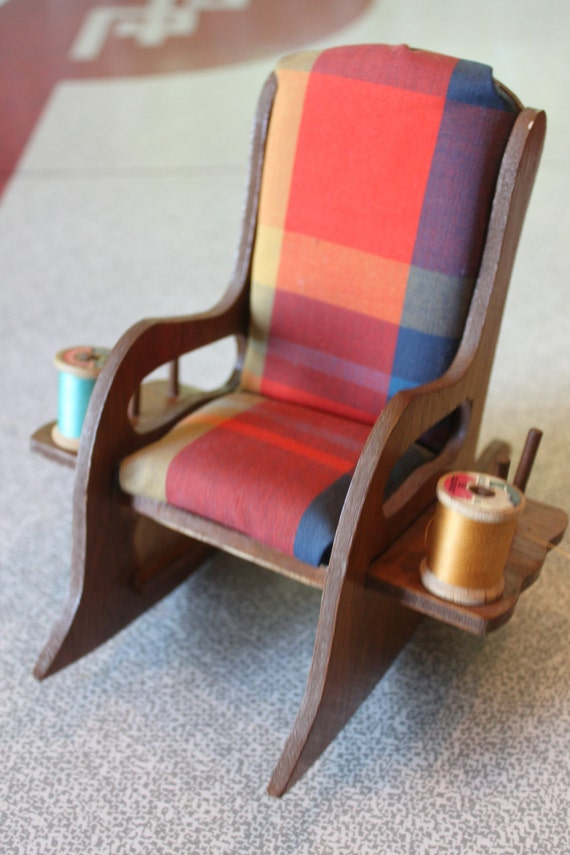 Colorful Vintage Wooden Rocking Chair Pin Cushion/Thread Holder - 1970 ...