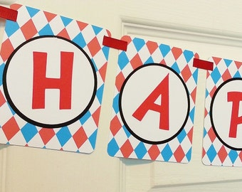 Cat In The Hat Party Banner - Red Teal - Custom Paper Party Banner - Happy Birthday - Cat in the Hat Baby Shower Birthday Party