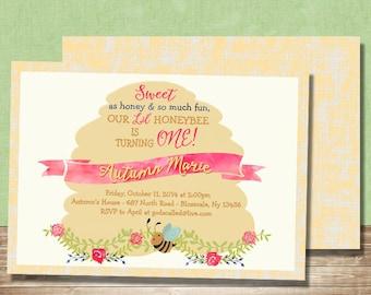 Sweet As Honey Whimsical Watercolor Bee Birthday Invitation - Girl Invite