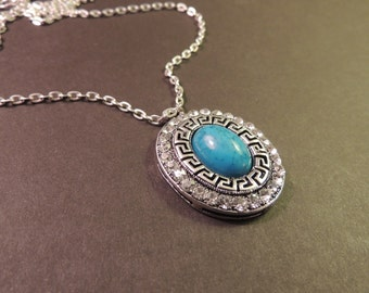 "Pendant Necklace Turquoise and Crystals Silver with 26"" Silver Chain"