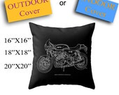 Norton Commando Cafe Racer Throw Pillow for bikers, INDOOR or OUTDOOR cover | Handmade sketch | Does not include pillow insert.