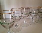 Vintage Six Irish Coffee Glass Stemware, Goldrim