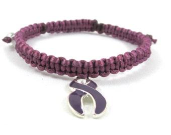 Violet Awareness Bracelet, Macrame, Hodgkin's Disease & Testicular Cancer