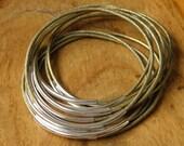 Leather bracelet - 10 bangles bracelets  - Bahia Del Sol - color Metallic golden khaki