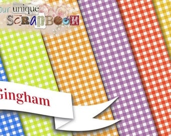6  Gingham style background Illustrations, vintage style, Clip Art - INSTANT DOWNLOAD - Pack gingham