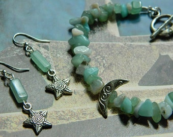 Arianrhod ~ Moon and Star Gemstone Jewelry Set, Blue and Green Gemstones, Silver Charms, Bracelet and Earrings