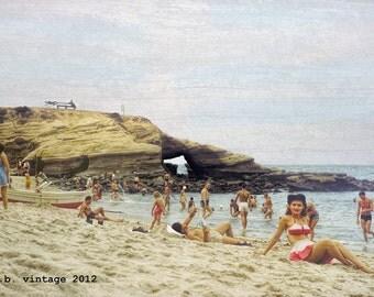 1940s La Jolla Cove Beach Vintage Scene,  8x12 Print from Original Negative