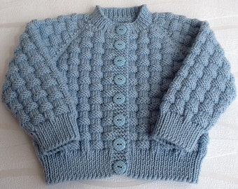 Hand knitted blue baby cardigan. Cashmerino baby cardigan. Blue baby sweater 3-6 months. Ready to ship.