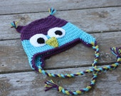 Toddler crochet owl hat with ties in purple and blue READY TO SHIP