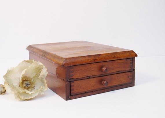 Reserved vintage oak two drawer box early bureau