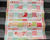 "Modern ""Scrumptious"" Quilt for Baby or Toddler Girl in Pink, Red, Orange, Aqua, Yellow and Green Colors"