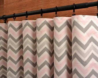 Designer Curtain Panels 24W or 50W x 63, 84, 90, 96 or 108L Zoom Zoom Bella Pink Grey White shown