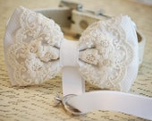 White Dog Bow Tie, Dog ring bearer, Pet Wedding accessory, Pet lovers, Chic and Classy, Lace bow tie
