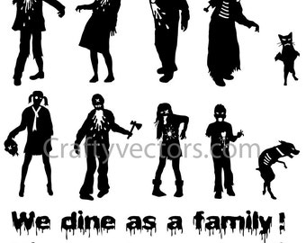 Zombie Family Vector File SVG