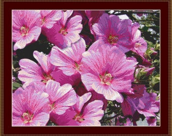 Pink Mallow Flowers Cross Stitch Pattern
